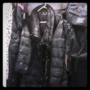 Long winter puffer coat.